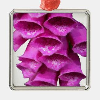 Flor rosada del Foxglove Adorno Cuadrado Plateado