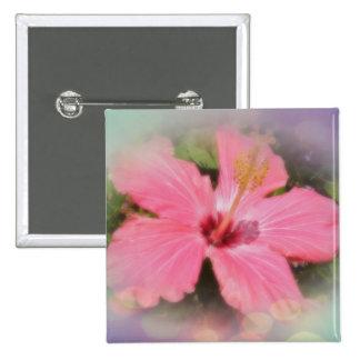 Flor rosada del hibisco pin cuadrada 5 cm
