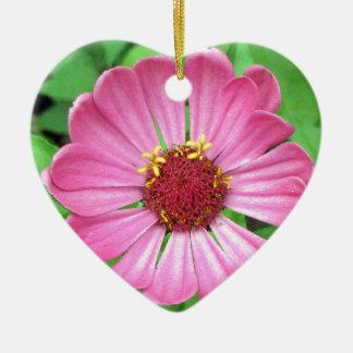Flor rosada del jardín del Zinnia Ornamento Para Arbol De Navidad