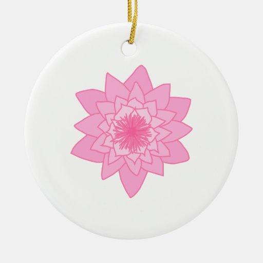 Flor rosada del lirio de agua adornos de navidad