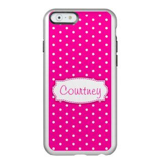 Flor rosada del lunar nombrada caso del iphone funda para iPhone 6 plus incipio feather shine