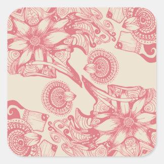 Flor rosada del modelo de la pasión pegatina cuadrada