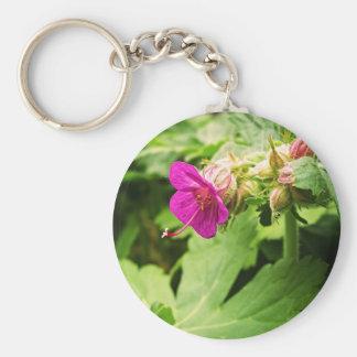 Flor rosada del Pelargonium Llavero Redondo Tipo Pin