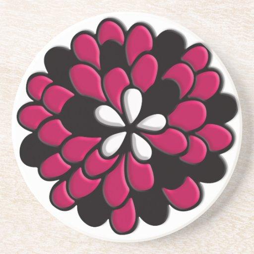 Flor rosada del vitral posavasos diseño