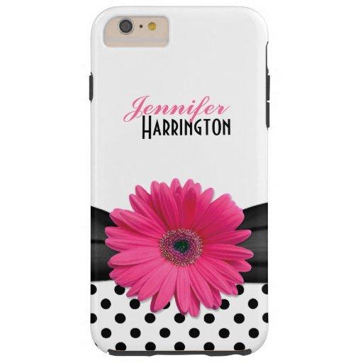Flor rosada elegante del lunar de la margarita del funda de iPhone 6 plus tough
