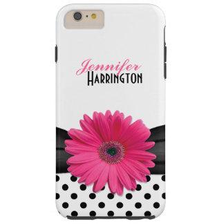 Flor rosada elegante del lunar de la margarita del funda resistente iPhone 6 plus