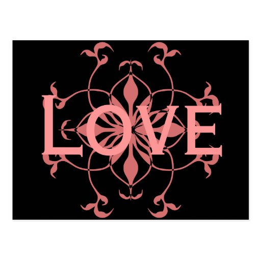 Flor rosada elegante en la postal negra del amor