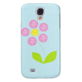 Flor rosada en la caja azul del iPhone 3 del fondo