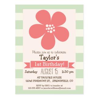 Flor rosada en rayas verdes en colores pastel tarjetas postales