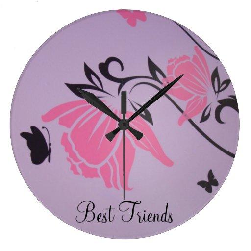 Flor rosada grande Deco del reloj de pared de los