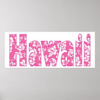 Flor rosada hawaiana póster