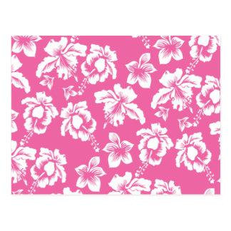 Flor rosada hawaiana tarjetas postales