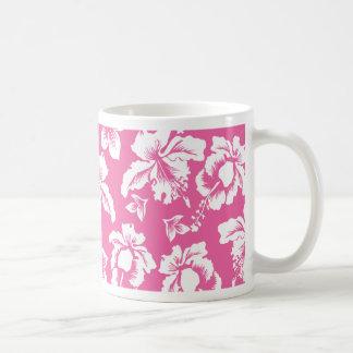 Flor rosada hawaiana tazas