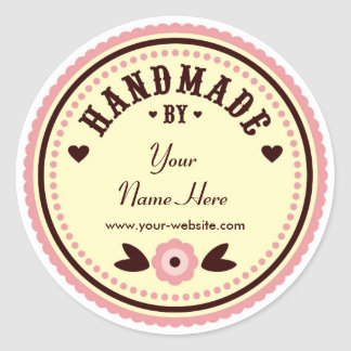 Flor rosada hecha a mano por los pegatinas pegatina redonda