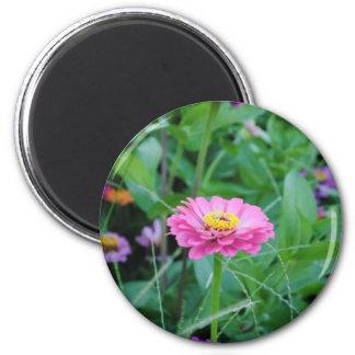 Flor rosada imán redondo 5 cm