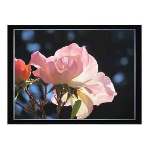 """Flor rosada invitación 6.5"""" x 8.75"""""""