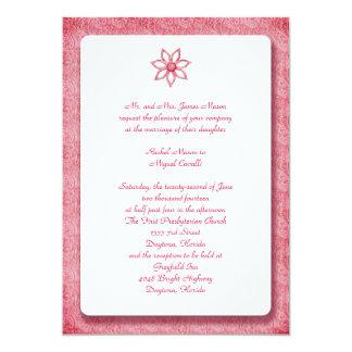 """Flor rosada Invitiations del cordón Invitación 5"""" X 7"""""""