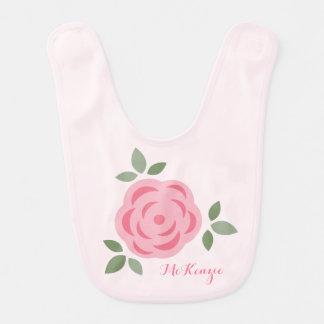 Flor rosada linda baberos
