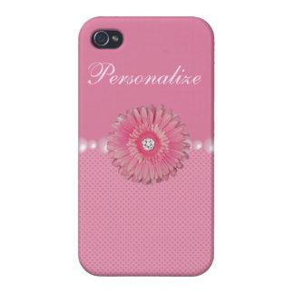 Flor rosada linda con los diamantes, las perlas y  iPhone 4 protectores
