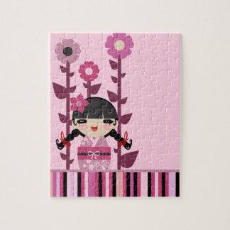 Flor rosada linda Kokeshi Rompecabezas