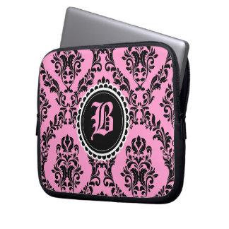 Flor rosada negra del monograma del damasco 311 funda ordendadores