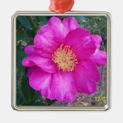 flor rosada ornamento de navidad