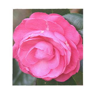 Flor rosada oscura de la camelia en la floración blocs de notas