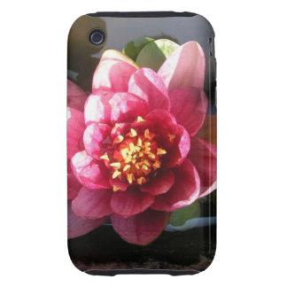 Flor rosada oscura Sunlit del lirio de agua Tough iPhone 3 Carcasa