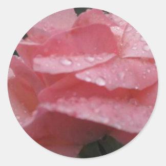 Flor rosada pegatina redonda