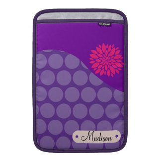 Flor rosada personalizada de los lunares púrpuras fundas macbook air