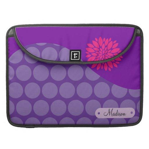 Flor rosada personalizada de los lunares púrpuras  funda para macbooks