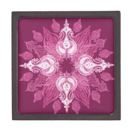 Flor rosada púrpura del sol de la rueda de Paisley Caja De Regalo De Calidad