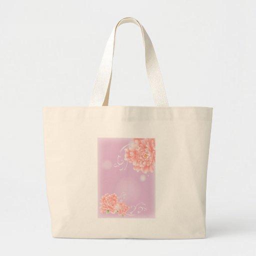 flor rosada púrpura elegante moderna femenina del bolsa tela grande