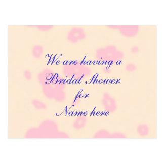 Flor rosada que casa la ducha nupcial inmóvil tarjeta postal