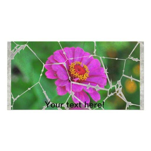 Flor rosada rasgada tarjetas fotograficas personalizadas