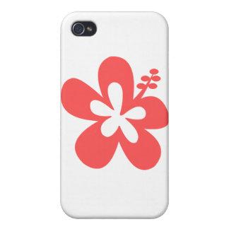 flor rosada roja de la hawaiana del hibisco iPhone 4 funda