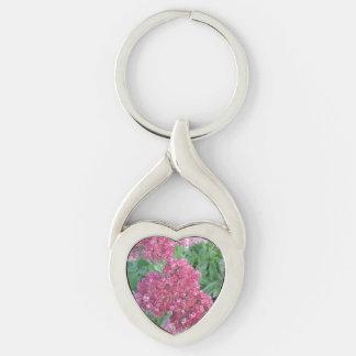 Flor rosada roja del racimo de Sedum de la alegría Llavero Plateado En Forma De Corazón