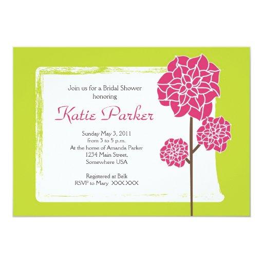 Flor rosada rústica invitación 12,7 x 17,8 cm