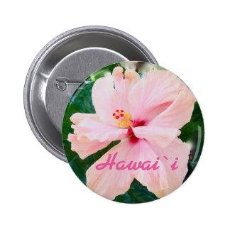 Flor rosada tropical de Hawaii Pin Redondo De 2 Pulgadas