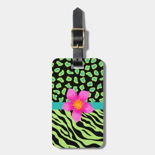 Flor rosada verde, negra y del trullo de la cebra etiquetas maleta