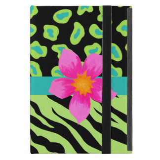 Flor rosada verde, negra y del trullo de la cebra iPad mini protector