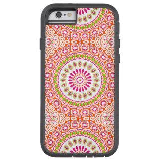 Flor rosada y anaranjada brillante de la mandala funda tough xtreme iPhone 6