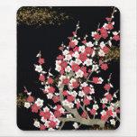 Flor rosada y blanca del japonés del vintage de Sa Alfombrilla De Raton