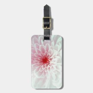 Flor rosada y blanca linda etiqueta de equipaje