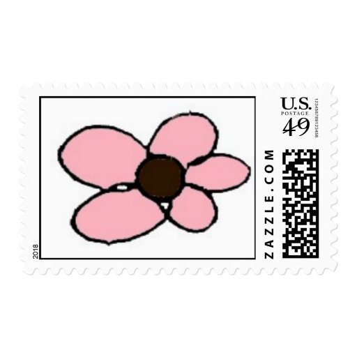flor rosada y marrón sello