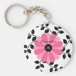 Flor rosada y negra con monograma de moda con nomb llaveros personalizados