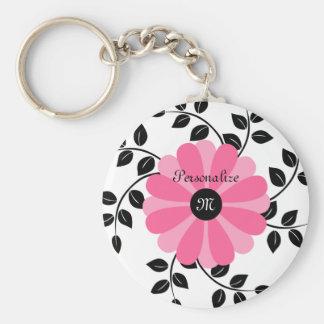 Flor rosada y negra con monograma de moda con nomb llavero redondo tipo pin