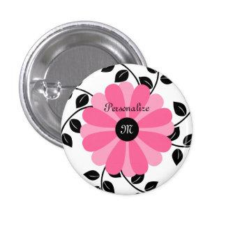 Flor rosada y negra con monograma de moda con nomb pins