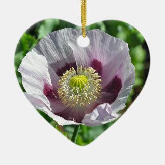 Flor rosada y púrpura de la amapola adorno navideño de cerámica en forma de corazón