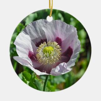 Flor rosada y púrpura de la amapola adorno navideño redondo de cerámica